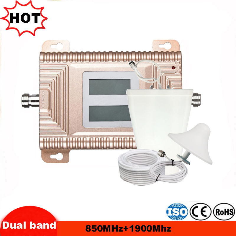 2G 3G GSM 850 1900 Cellular Signal Repeater GSM 3G UMTS 850mhz 1900mhz Dual Band Cellphone Amplifier 20dBm Mobile Booster