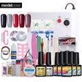 Full Set Nail Tools Soak Off 5 Colors UV Neon Gel Polish Nail Art Manicure Kit 36W UV Lamp Base Gel Top Coat Nail Tools