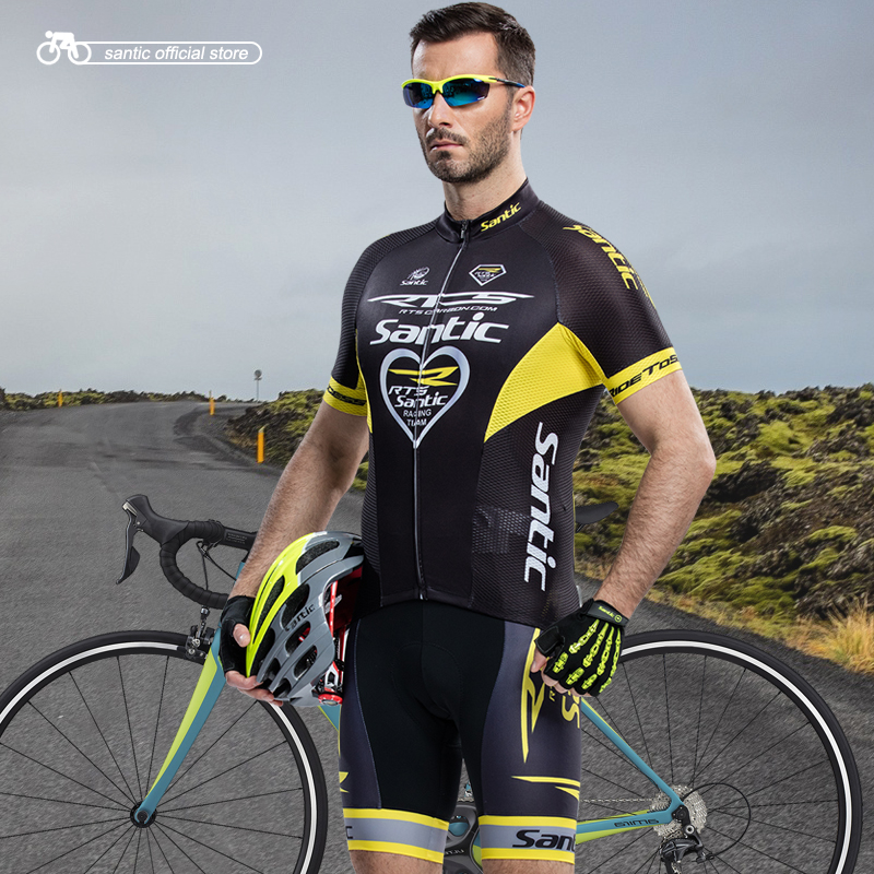 цена на Santic Men Cycling Sets RTS Team Jersey + Bib Shorts  Pro Fit Wear Cycling Bike Granada Sets Cycling Clothings MCT031/M5CT052V