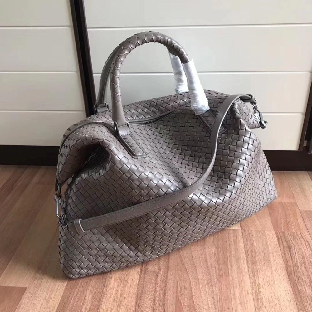 Brand Women Real Leather Handbags Fashion Woven Big capacity Shoulder Bags High Quality Sheepskin Knitting Bags