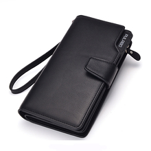 New Long Tri-Fold Men's Leather Wallets With Coin Pocket 24 Card Holders Purse Designer Phone Clutch Bag Good Gift For Man