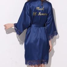 Owiter Matt Satin Robes Plus Size Wedding Bath Robe Bridesmaid Bride Dressing Gown Women Navy Blue Gold Sleepwear Maid of Honor