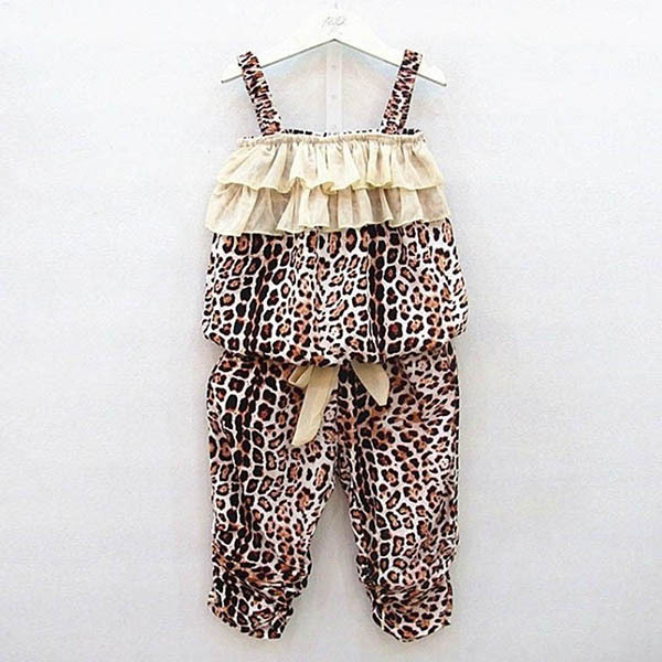 Factory Price! Baby Girl Kids Children Leopard Vest + Pants Clothes 2Pcs Suit Outfits Sets 2-6Y