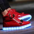2017 de Los Hombres de Alta Top Zapatos Led Para Adultos 8 Colores Que Brillan Intensamente luz Hasta Zapatos Planos Amante Luminoso Mens Zapatos de Purpurina de Recarga Más 46