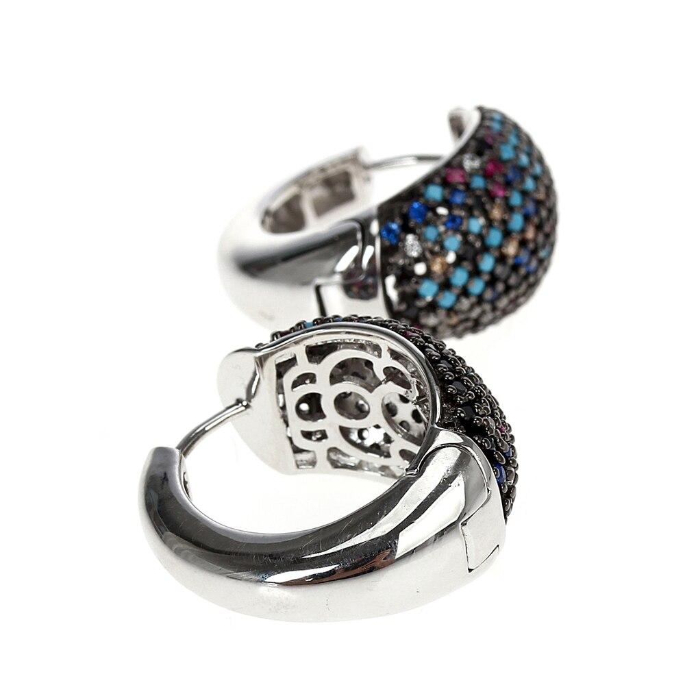 SE23738RB multi-colors cubic zirconia stone hoop earrings for women 925 sterling silver wedding jewelry (7)