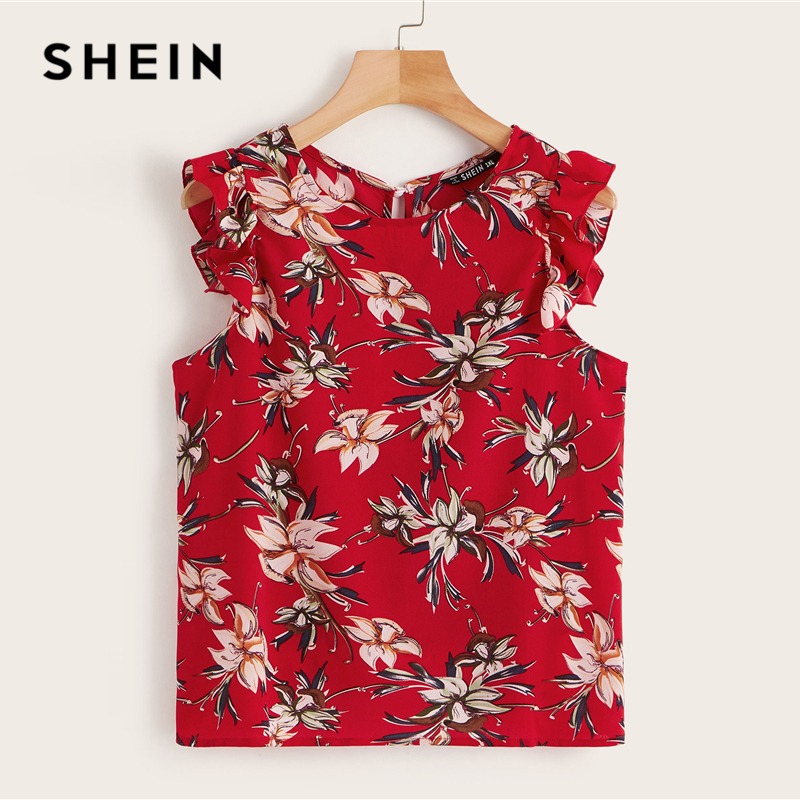 SHEIN Plus Size Red Ruffle Armhole Keyhole Back Top   Blouse   2019 Women Summer Floral Print Boho Sleeveless Button   Blouses     Shirt