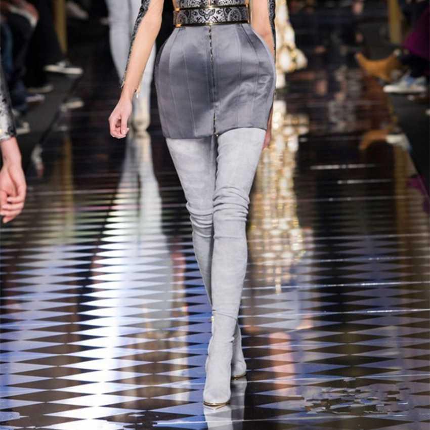 10.5 CM Topuklu Kadın Ayakkabı Elbise Diz Kışlık Botlar Kadın Sahte Süet Deri Çizme Bayan Uyluk Yüksek Çizmeler Bayanlar kar Ayakkabısı
