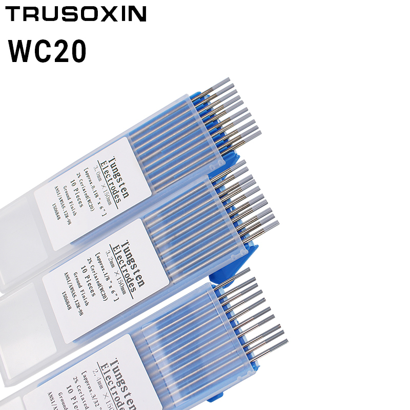 10pcs Gray Color Code 1.0/1.6/2.0/2.4/3.0/3.2/4.0*150mm Cerium Tungsten Electrode Head Tungsten Needle/wire TIG Welding Machine