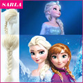 1PC Halloween Cosplay Wigs Annad and Elsa Braid Free Gift Cap Long Wavy Synthetic Hair Accessories Kanekalon U Part Wig