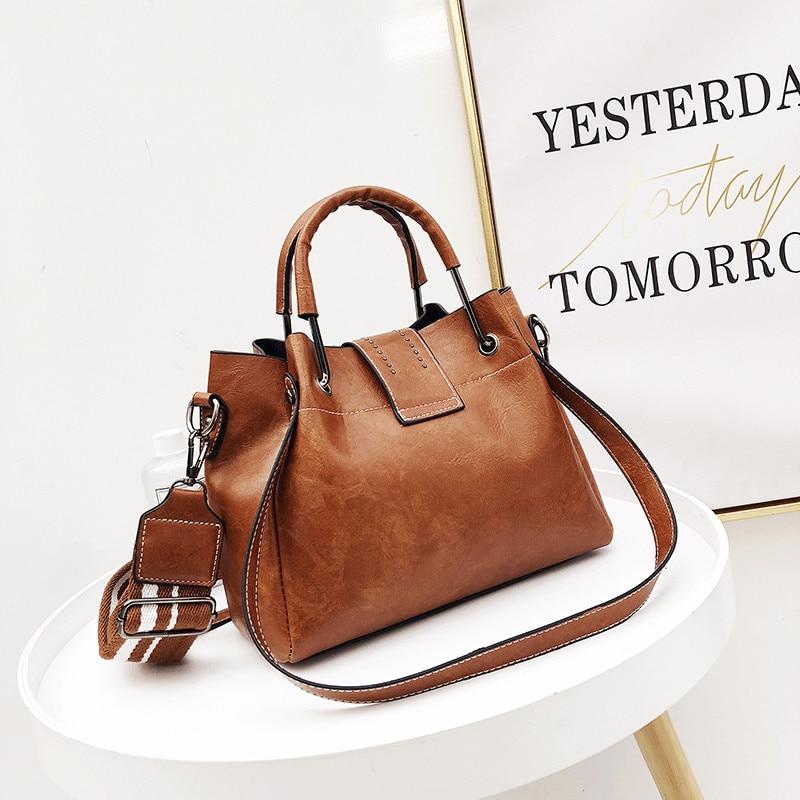 Bags Women PU Leather Handbags Vintage Crossbody Bag Ladies Designer Bucket Shoulder Bag Female Casual Tote Bag