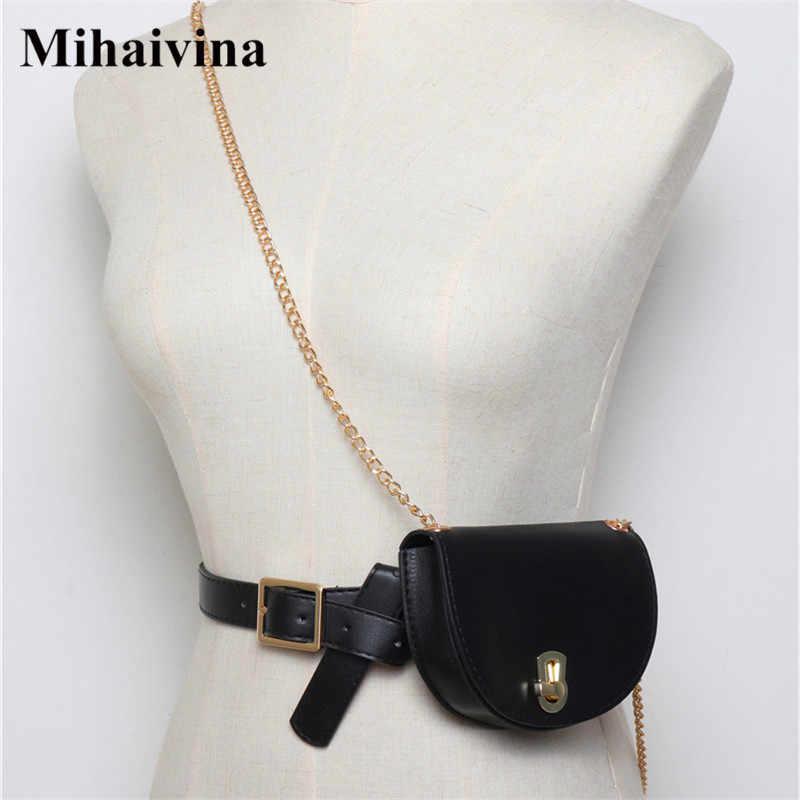 Mihaivina 女性ウエストパック半円ファニーパック Leahter ウエストバッグファッションチェーンウエストベルトショルダーバッグ女性財布尻バッグ