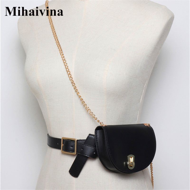 Mihaivina Women Waist Pack Semicircle Fanny Pack Leahter Waist Bag Fashion Chain Waist Belt Shoulder Bags Female Purse Bum Bag