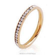 Simplicidad clásica 2 mm cristal acero inoxidable del Rhinestone de plata chapado en oro anillo de bodas de compromiso joyería fina Gife navidad