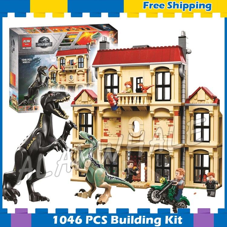1046 pcs Monde Jurassique Indoraptor Saccage à Lockwood Immobilier Modèle Blocs de Construction Dinosaure ensembles Cadeaux Compatible Avec Lego