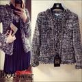 2016 spring/fall luxury cc brand tweed tassel jacket designer women vintage metallic weave woolen short blazer runway outerwear