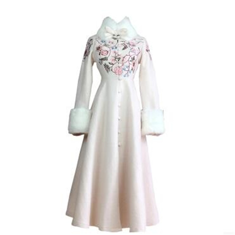 New Type Of High Quality Woolen Cloth Coat  Autumn Clothes Fashion Women Coat  Embroidered Cloth Coat More Long Coat BN1631