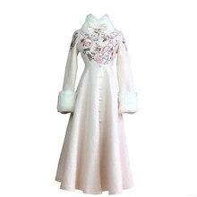 Тип высокого качества шерстяное пальто осенняя одежда модное женское пальто вышитое тканевое пальто более длинное пальто BN1631