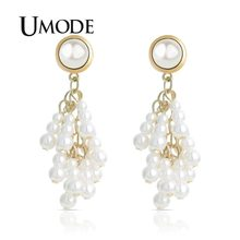 UMODE Big Gold Pearl Long Drop Earrings for Women Korean Dangle Earrings Statement Gift Vintage Bohemian Fashion Jewelry UE0508(China)