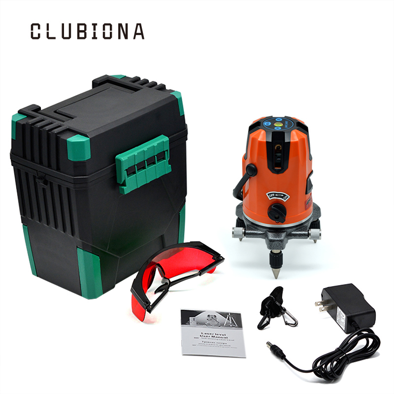US PLUG 360 degrees rotary outdoor button and slash functional 5 lines 6 points self-leveling measuring tool line laser meter
