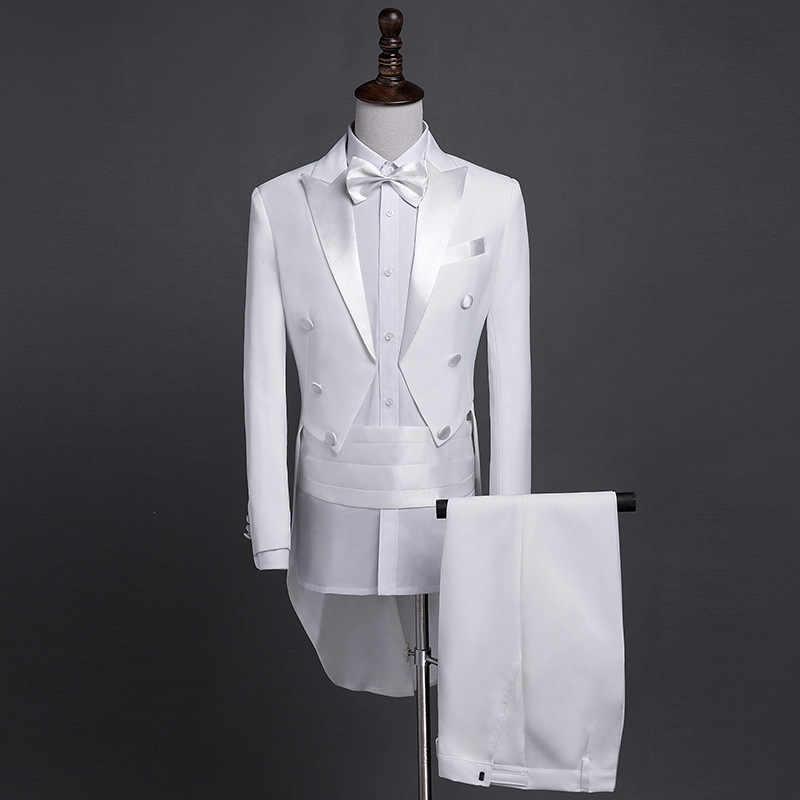Abrigo clásico negro blanco brillante de la cola de los hombres de la solapa esmoquin boda novio etapa cantante trajes 4 Uds Set
