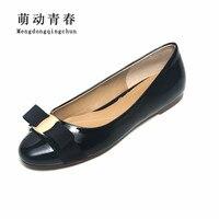 2018 New Women Flats Shoes Women Round Toe Genuine Leather Shoes Flat Heels Women Slip On