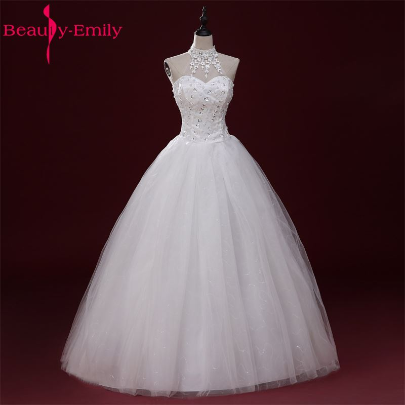 Beauty Emily White Long Cheap Wedding Dresses 2017 A-Line Vestidos de noiva Lace Up Bridal Gowns