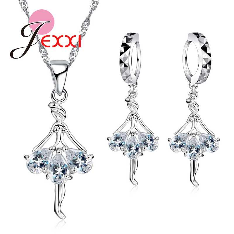 Elegant 925 Sterling Silver Ballerina Necklace Earrings Cubic Zirconia  Wedding Engagement Jewelry Sets