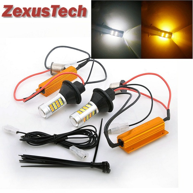 2X T20 7440 50 W LED Dual Kleur Wit/Amber Geel Switchback Richtingaanwijzer + Canbus Foutloos Decoder Belastingsweerstand W21W
