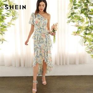 Image 1 - SHEIN glamour multicolore une épaule à volants asymétrique Dip ourlet Floral manches bouffantes robe crayon 2019 robes de printemps