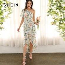 فستان من SHEIN بألوان فاتنة متعدد الألوان بكتف واحد وكشكشة غير متناظرة ذات حافة مقلمة وأكمام منفوخة بالزهور لربيع 2019