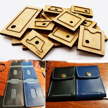 DIY leather craft multi pocket card holder folded wallet die cutting knife mould hand punch tool pattern 130x90x15mm