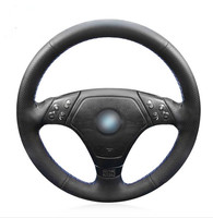 Black Artificial Leather Car Steering Wheel Cover for BMW E36 E46 E39