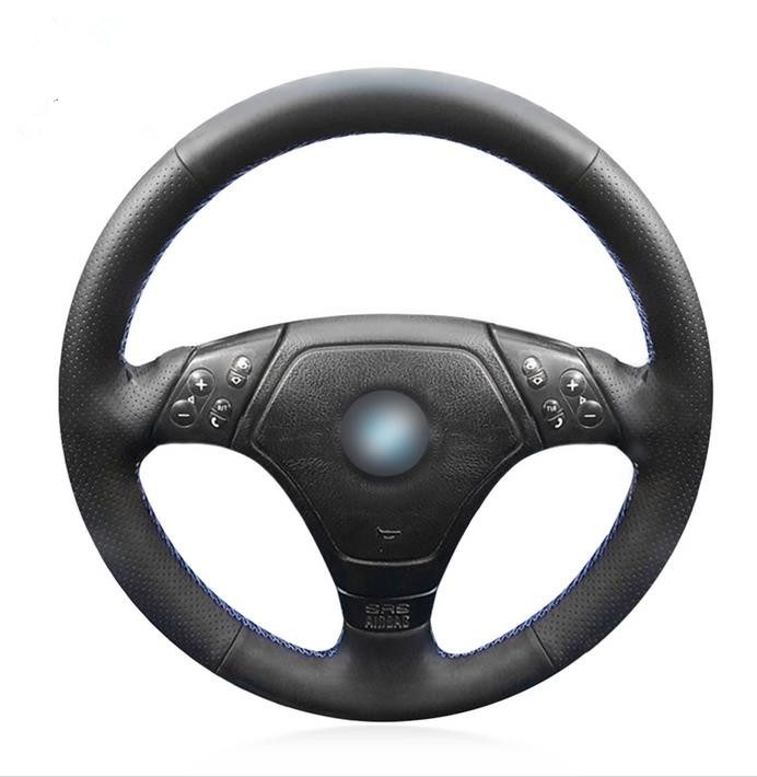 Black Artificial Leather Car Steering Wheel Cover for BMW E36 E46 E39