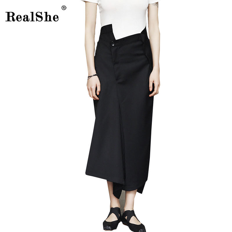 RealShe 2018 Spring Women High Waist   Wide     Leg     Pants   Asymmetrical Zipper Black Ankle-Length Woman's   Pants   Casual Loose Trousers