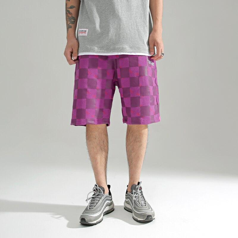 CHINISM Tetris Tema Plaid Shorts 2018 di Modo Del Ricamo Lettere Blocchetto di Colore Della Rappezzatura Streetwear Mens Hip Hop Casual Shorts