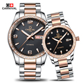 2016 Carnival Luxury Lovers Couple Watches Men Date Day Waterproof Women Gold Stainless Steel Mechanical Wristwatch Montre Homme