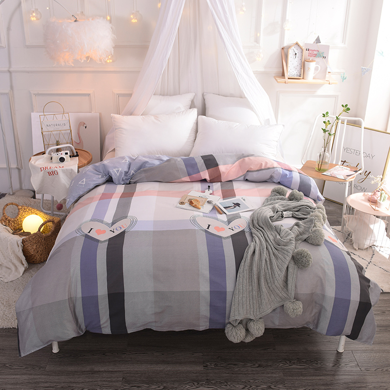 Cute Cartoon Love Big Plaid Pattern bedding Home Textile Sided Duvet Cover 100% Cotton Bed Comforter Cover King 220x240cm Size