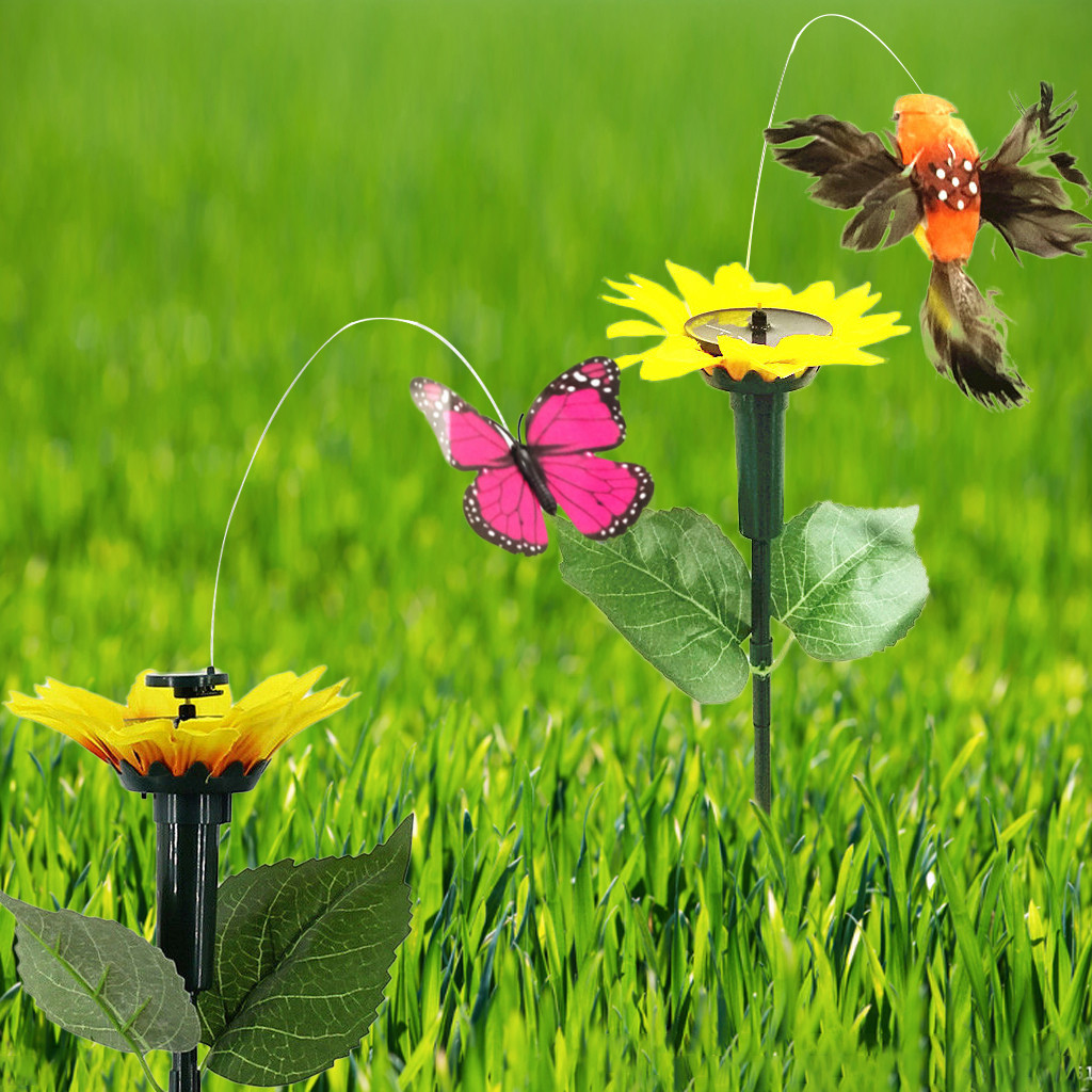 New Creative Solar Energy Supply Vibration Power Flying Dancing Fluttering Butterflies Hummingbird Garden Decorative Stake