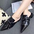 2017 fashion Spring Pointed toe designer shoes luxury Bow sweet women's flat shoes Pleated slippers women sandalia feminina