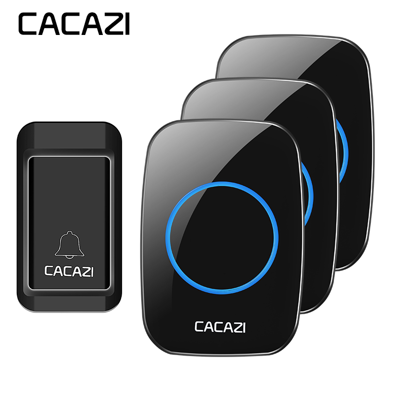 CACAZI A10G wireless doorbell AC 110-220V 200M remote smart digital home door bell 36 rings 3 volume door chime no cross-talk long distance 2v2 433mhz wireless welcom chime digital ac doorbell