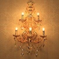 Огромный 5 arm золотой кристалл настенный светильник бра для гостиной светодио дный Настенные светильники современный отель настенные свечи