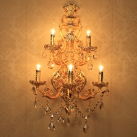 Huge 5 arm gold crystal Wall Lamp sconce for living room Led wall light fixtures contemporary Hotel wall Candle Lamps Arandela