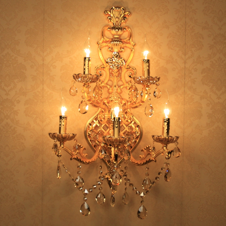 Huge 5-arm gold crystal Wall Lamp sconce for living room Led wall light fixtures contemporary Hotel wall Candle Lamps Arandela