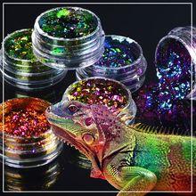 1 box Chameleon Nail Sequins Glitter holographic powder Dust Dazzling Transparent Manicure Nail Art Glitter Sheet Decorations