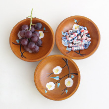 1 pcs New Round Wooden Fruit Plate Storage Tray Printing Home Basket Desktop Snacks Dried