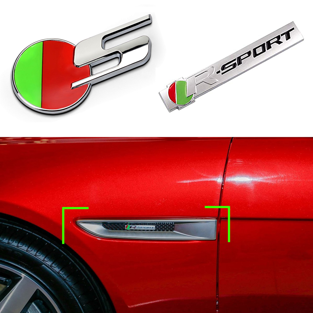 3D Stereo Metal Emblem Badge Car Body Trunk Fender R-SPORT R S Logo Sticker For Jaguar XF XE XJ XF F-PACE E-PACE I-PACE S-TYPE