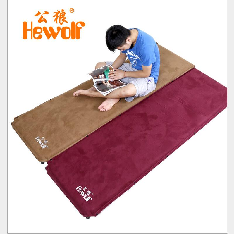 Hewolf New Automatic Inflatable Mattress Outdoor Camping Mat Pad Self-Inflating Moistureproof Picnic Tent Mat with Pillow spliced air mattress self inflating pad automatic inflatable camping mat moistureproof folding tent bed outdoor sleeping airbed