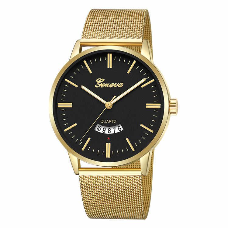 Geneva мужские s часы лучший бренд класса люкс золотые мужские наручные часы из нержавеющей стали Мужские кварцевые часы Лакшери наручные часы relogio masculino