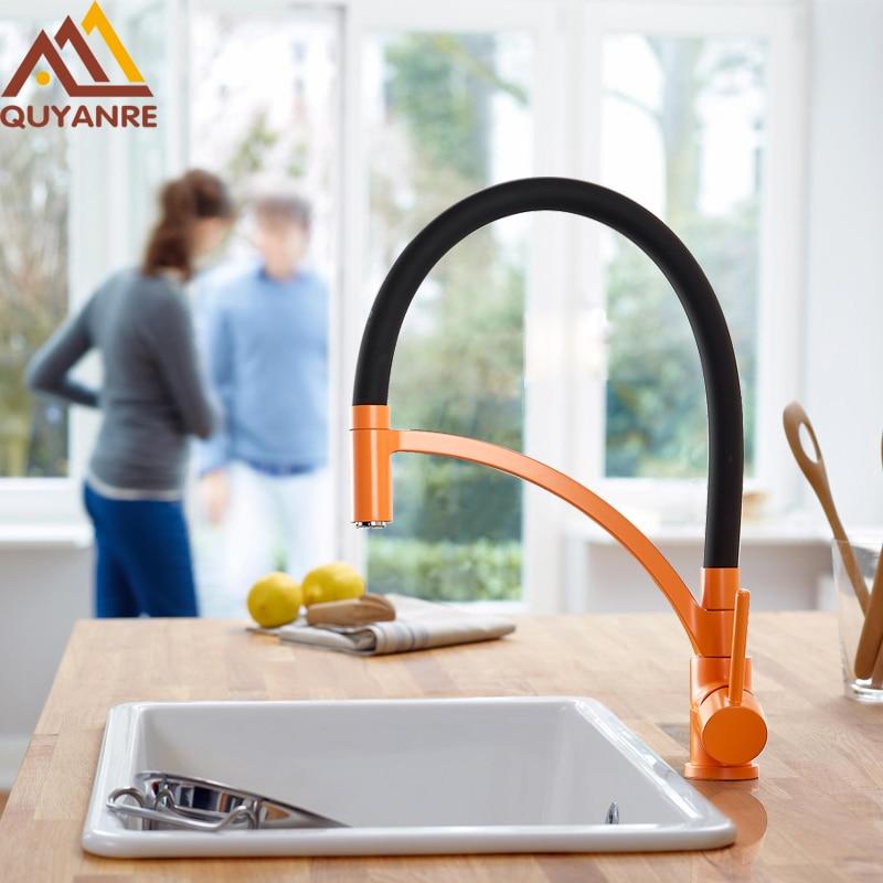 Quyanre Black Orange Green Mult-color Pull-out Kitchen Faucet Black Rubber 360 Rotation Single Handle Mixer Tap Kitchen Faucet