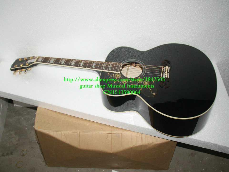 Left Hand black 200 Acoustic Guitar Musical instruments Free Shipping vegas left hand natural color acoustic electric guitar free bag free shipping